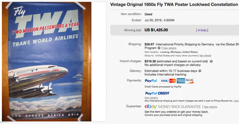 TWA - Two Million passengers a Year - Original Vintage Airline Poster