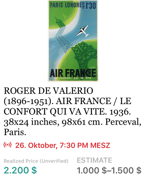 Air France - Paris–Londres - Roger di Valerio - Original Vintage Airline Poster