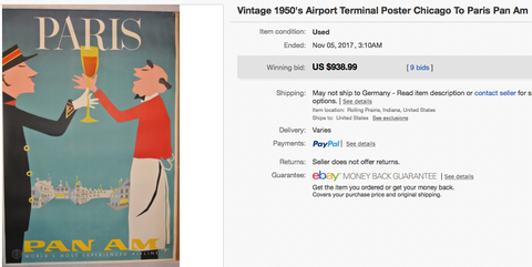 Pan Am - Paris - Original vintage airline travel poster by Aaron Fine