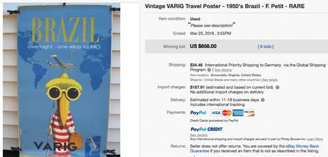 VARIG - Brazil - Original Vintage Airline Poster