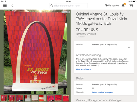 TWA - St. Louis - David Klein - Original Vintage Poster