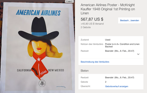 American Airlines - California Arizona Texas New Mexico - McKnight Kauffer - Original Vintage Airline Poster