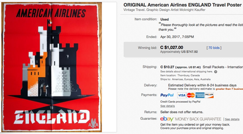 American Airlines - England - Edward McKnight Kauffer - Original Vintage Travel Poster