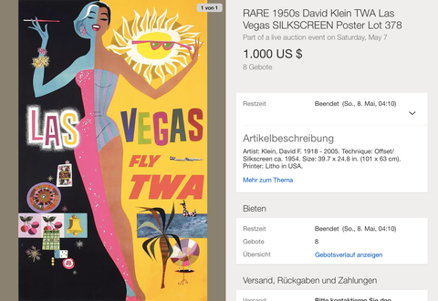 TWA - Las Vegas - David Klein - Silkscreen - Original Vintage Airline Poster
