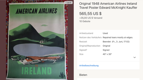 American Airlines - Ireland - McKnight Kauffer - Original Vintage Airline Poster