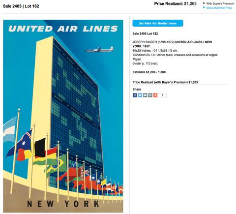 United Air Lines - New York - Joseph Binder - Original Vintage Airline Poster