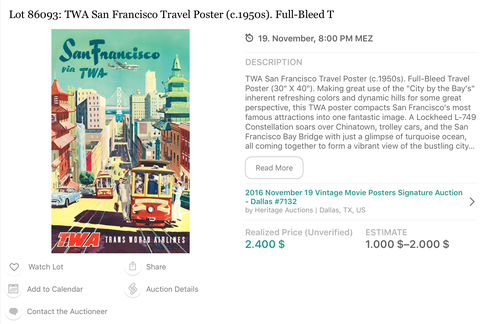 TWA - San Francisco - Original Vintage Travel Airline Poster