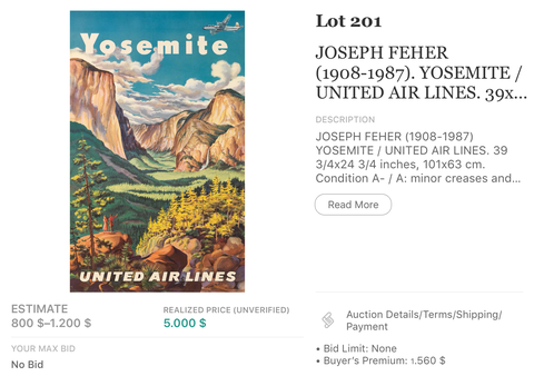 United Air Lines - Yosemite - Joseph Feher - Original Vintage Airline Poster 1940s