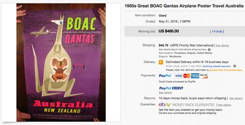 BOAC Qantas - Australie New Zealand - Laban - Fluorescent Silkscreen - Original Vintage Airline Poster