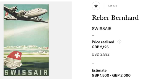Swissair - Bernhard Reber - Original vintage airline poster