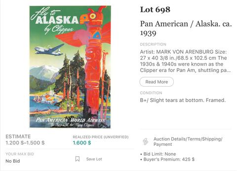 Pan American Airways - Alaska by Clipper - Mark v. Arenburg - Original Vintage Airline Poster