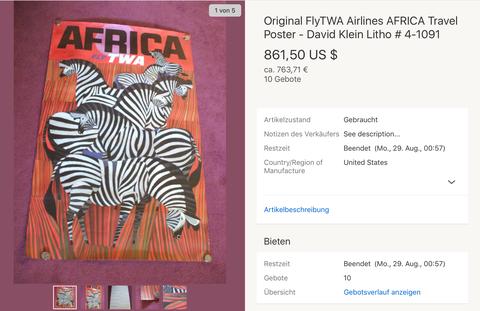 Africa - TWA - David Klein - Original Vintage Airline Poster
