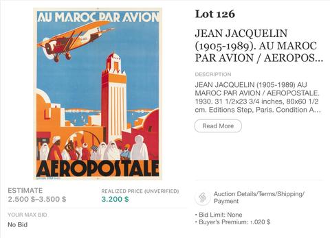 Aeropostal - Au Maroc par avion - Jean Jacquelin - Original Vintage Airline Poster
