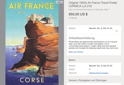 Air France - Corse - Raoul Éric Castel - Original Vintage Airline Poster