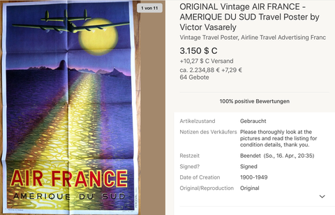 Air France - Amerique du Sud - Victor Vasarely - Original Vintage Airline Poster