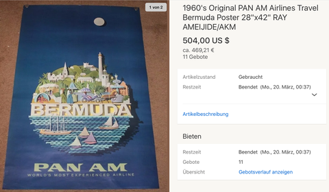 PAN AM - Hawaii - Original Vintage Airline Poster by Ray Ameijide