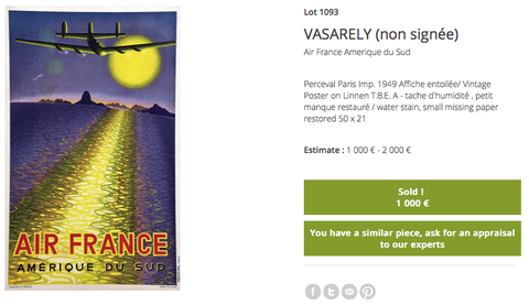 "Air France - Amerique du Sud (small ""quarter"" size) - Victor Vasarely - Original Vintage Airline Poster"