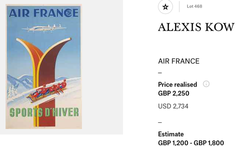 Air France - Sports d'hiver - Alexis Kow - Original vintage airline poster