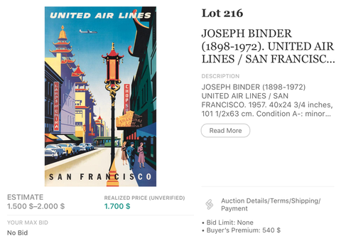 United Air Lines - San Francisco - Joseph Binder - Original Vintage Airline Poster 1957