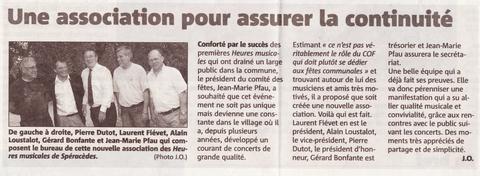 Une Association pour assurer la continuité, article Nice matin du 10 juin 2011