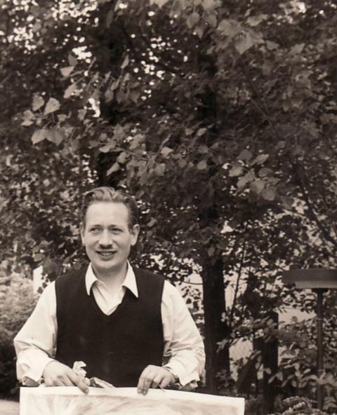 Amud Uwe Millies im Künstlergarten, 60er Jahre