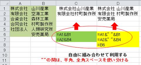 「+」記号の代わりに「&」を使えば、容易に文字や文章の結合ができる。