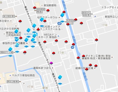 草加松原 綾瀬川左岸広場 ポケストップ