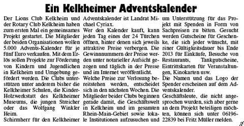 Kelkheimer Zeitung Nr. 25 vom 21.6.2012, Kelkheimer Adventskalender