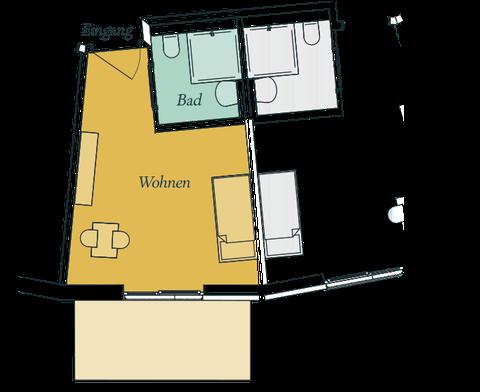 Wohneinheit mit Terrasse (EG) oder Balkon (OG)