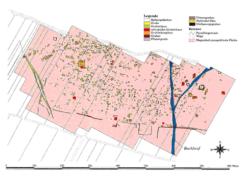 Abb. 1: archäologisch interpretierter Gesamtmagnetikplan, ZAMG Archeo Prospections