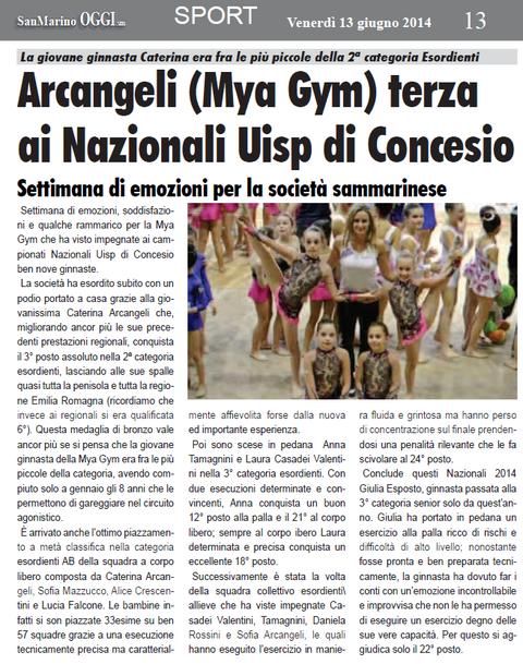 """Articolo """"SanMarino OGGI"""" del 13/06/2014"""