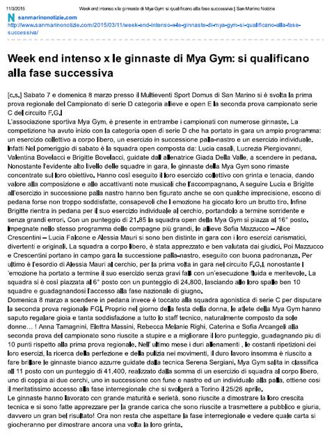 """Articolo """"sanmarinonotizie.com"""" del 11/03/15"""