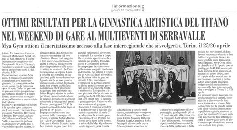 """Articolo da """"L'informazione"""" del 12/03/2015"""