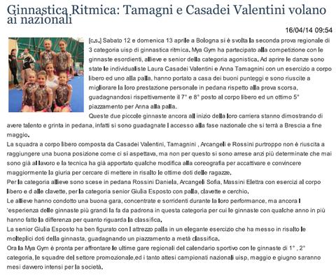 """Articolo """"Sanmarinonotizie"""" 16/04/14"""