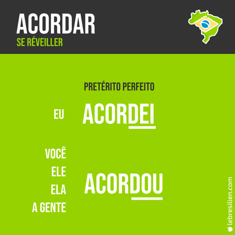 verbe se reveiller en portugais passé composé conjugaison verbo acordar pretérito perfeito português conjugação
