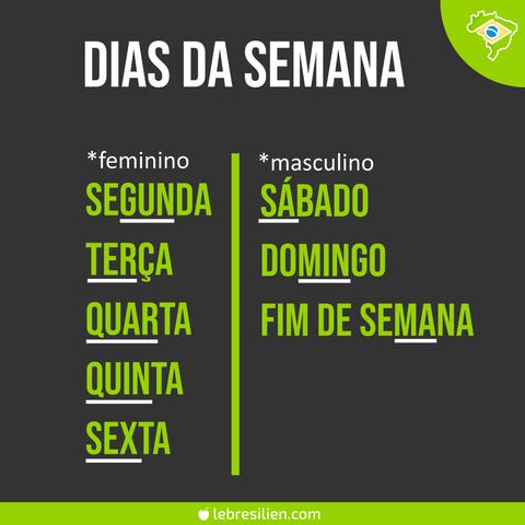 les jours de la semaine en portugais os dias da semana em português