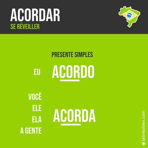 verbe se reveiller en portugais présent conjugaison verbo acordar presente simples português conjugação