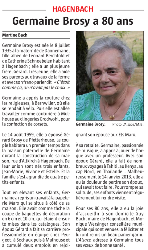 Germaine Brosy, 80 ans