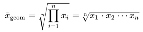 So sieht die mathematische Formel für das gewichtete geometrische Mittel aus. Quelle: Wikimedia Commons, CC-BY