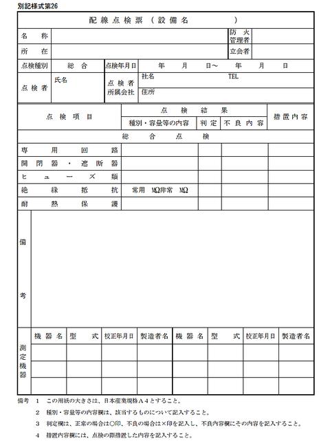 消防用設備の配線点検票