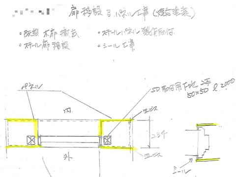 防火扉移設&パネル工事の概要…。
