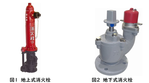 地上式消火栓(左)と地下式消火栓(右)
