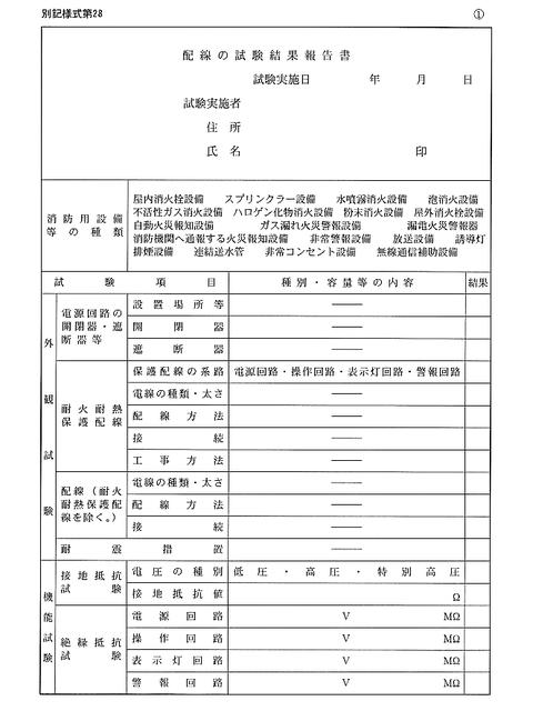 配線の試験結果報告書