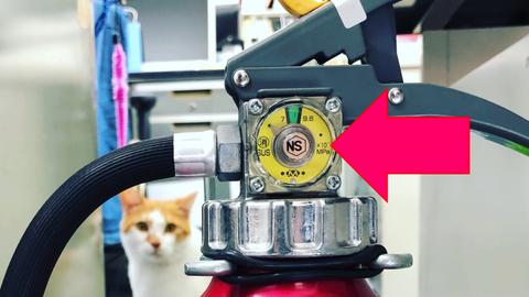 蓄圧式消火器には「圧力ゲージ」