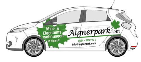Unser Elektroauto im Aignerpark-Design