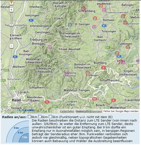 Ausschnitt aus der Übersichtskarte bisher bekannter LTE-Standorte in Deutschland