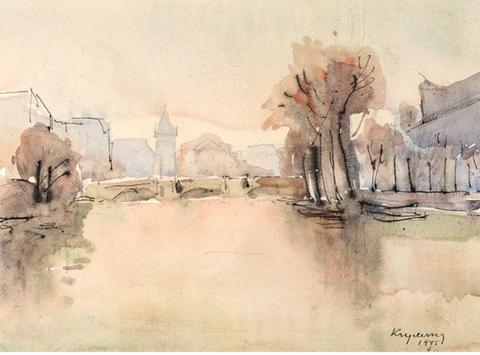 Mykola Vasyl KRYCHEVSKY (1898-1961)  Vue de Paris, 1945 Aquarelle et encre sur papier, signée et datée en bas à droite 23,5 x 30,5 cm (à vue)