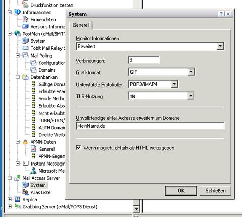 DvISE Administrator Einstellungen des Mail Access Servers