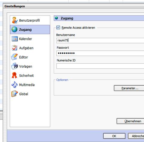 Zugang für den Benutzer im InfoCenter einrichten