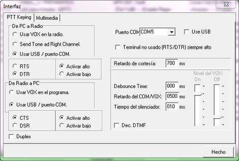 Usar USB / puerto COM en parte izquierda de Radio a PC solo para equipos con cable de datos- En walkies se pondrá Usar VOX en el programa.- Lo de mas poner el puerto que te indica el Interfaz  que hayas comprado